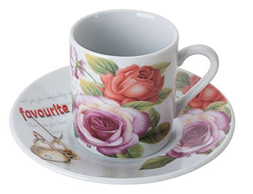 Set of 6 Porcelain Demitasse Cups and Saucers for Espresso or Turkish Coffee - Red & Pink Roses