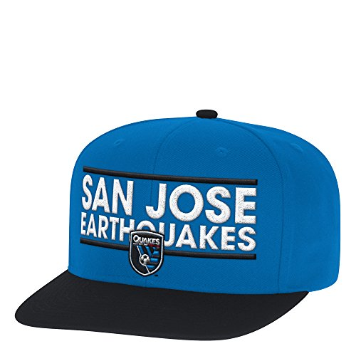 adidas MLS San Jose Earthquakes Men's Dassler Flat Brim Snapback Hat, One Size, Blue