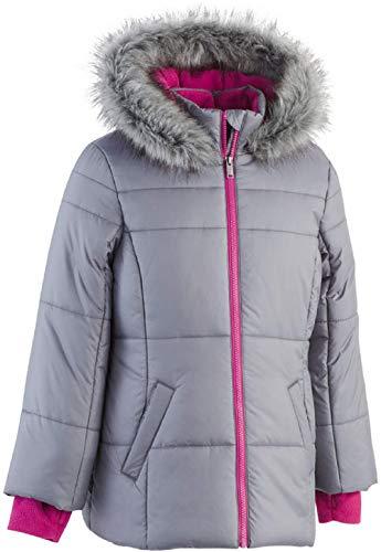 Calvin Klein Girls Hooded Puffer Jacket with Faux-Fur Trim (Dark Gray Heather, 12)
