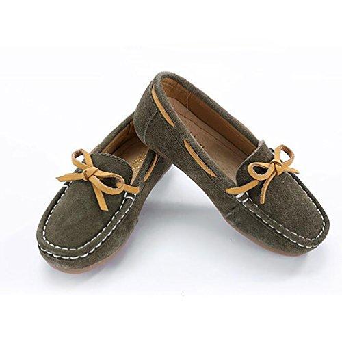 YiJee Freizeit Mokassins Jungen Mädchen Flache Schuhe Comfort Loafers Bootsschuhe Khaki