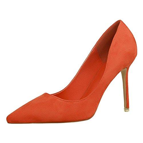 Aguja Tacon Mujer de Moda Orange Para de RAZAMAZA Zapatos qztX4Aw