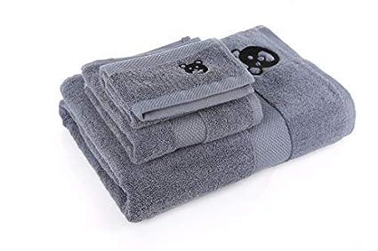 Conjunto 3 Toallas alta calidad 100% algodón color Gris 500 gsm
