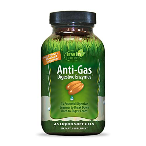 Irwin Naturals Anti-Gas Daily Digestive Enzymes - Powerful Botanical Blend Reduces Gas, Bloating, Indigestion with Bromelain & Papain - 45 Liquid Softgels
