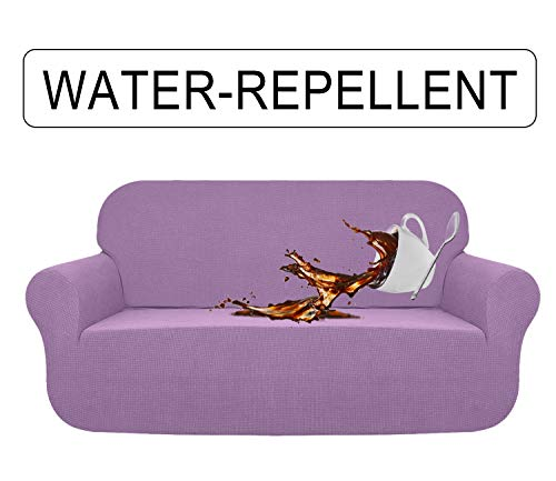 AUJOY Stretch Sofa Cover Water-Repellent Couch Covers Dog Cat Pet Proof Couch Slipcovers Protectors (Sofa, Light Purple) (Unique Sofa Covers)