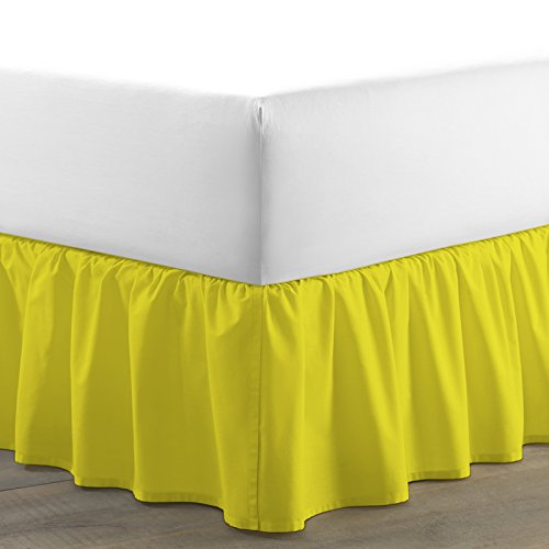 BED ALTER 1200 Thread Count Luxurious Dust Ruffle Bed Skirt 100% Egyptian Cotton 18 Inch Drop Solid (Yellow, Twin) (Available in All Sizes and 29 Colors) (Twin Ruffle Drop Dust 18')