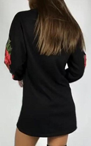 Jaycargogo Manches Longues Quart De Travail De Broderie Ras Du Cou Des Femmes T-shirt Robe De Noir