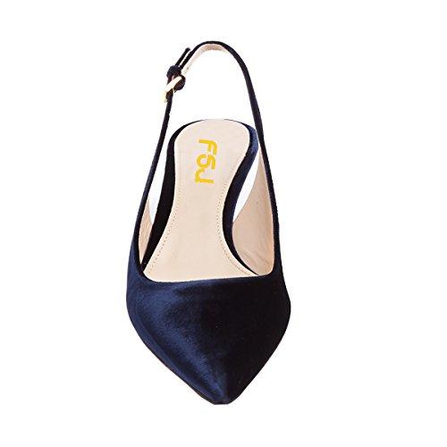 Fsj Scarpe Da Donna Di Classe Slingback In Velluto Gattino A Metà Tacco Scarpe A Punta Comfort Scarpe Formato 4-15 Us Blu Navy
