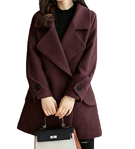 Mogogo Women's Fall Winter Turn Down Collar Mid Long Slim Fit Trendy Coat As Picture