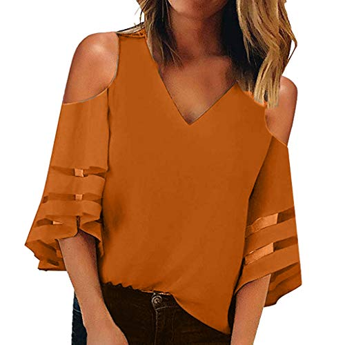 ℱLOVESOOℱ Women V Neck Mesh Panel Off Shoulder Blouse 3/4 Bell Sleeve Casual Loose Top Shirts Coffee