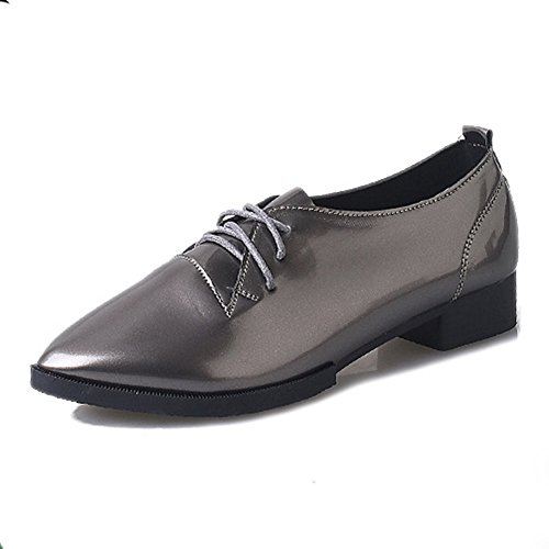 CYBLING Leather Low Heels Shoes For Women Pointed Closed Toe Lace Up Chunky Oxfords-Shoes Pewter XAl9Uki9