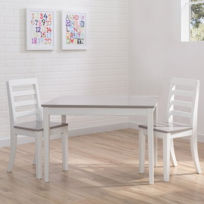 Amazon.com: Delta Children Table and Chairs, 3-Piece Set (White and ...