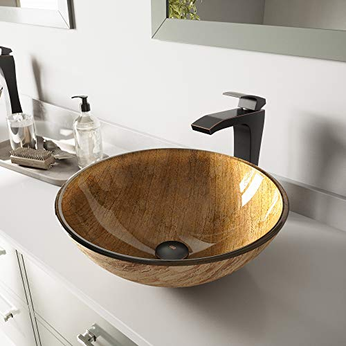 VIGO Amber Sunset Glass Vessel Bathroom Sink and Blackstonian Vessel Faucet with Pop Up, Antique Rubbed Bronze