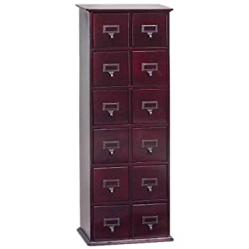 Leslie Dame CD-228C Solid Oak Library Card File Media Cabinet, 12 Drawers, Cherry