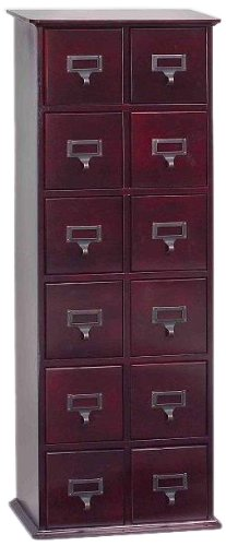 Cd Storage Oak Cabinet - Leslie Dame CD-228C Solid Oak Library Card File Media Cabinet, 12 Drawers, Cherry