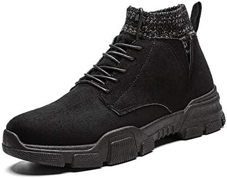 ハイトラクショングリップラウンドトウと男性ハイトップブーツレースアップスタイル弾性ソックスカラースエードアッパーフラットのためのオートバイの半長靴 YueB HAC (Color : ブラック, サイズ : 27 CM)