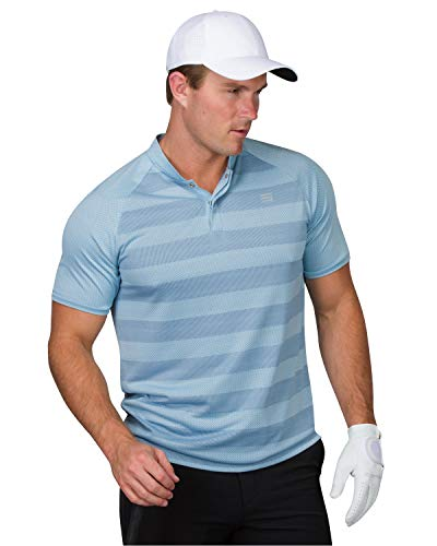 (Three Sixty Six Golf Shirts for Men - Dry Fit Collarless Polo Shirts - Lightweight and Breathable, Stripe Design Classic Blue )