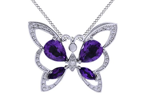 - Simulated Amethyst & White Natural Diamond Accent Butterfly Pendant in925 Sterling Silver