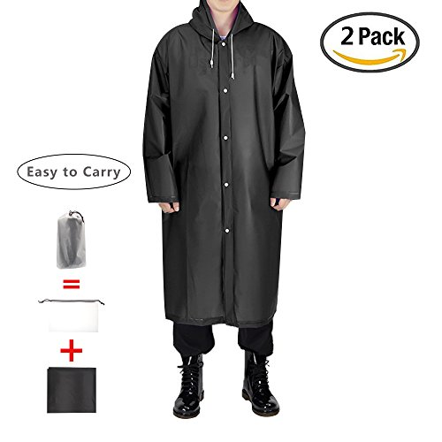 - EnergeticSky EVA Portable Raincoat,Reusable Rain Poncho with Hoods and Sleeves,Non-Toxic,No Plastic Smell,Environmentally Friendly,Light Weight and Perfect for Outdoor Activities