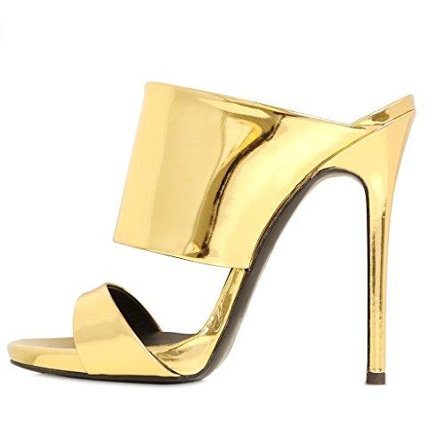 LYY.YY Sandalias De Tacón Alto para Mujer Zapatos De Tacón De Aguja Dorados con Punta Abierta Combinación De Punta Ancha (Altura del Tacón: 11-13Cm),Goldenpatentleather,45