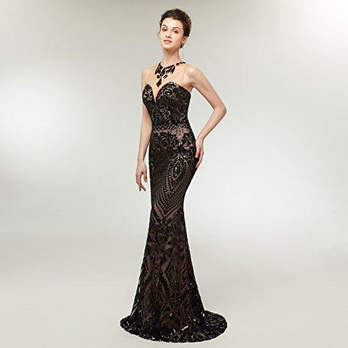 Prom Beading Black Sequin Women's High 2018 Gown Long Lazacos Evening Applique Neck Mermaid Dress RqBR0Hg