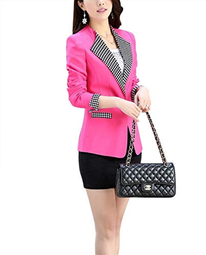 Ragazza Tailleur Ufficio Cappotto Elegante Blazer Primaverile Da Giacca Giacche Slim Business Con Vintage Donna Autunno Tasche Lunga Rosa Fashion Reticolo Manica Giaccone Fit Button 0Rx1zqE0w