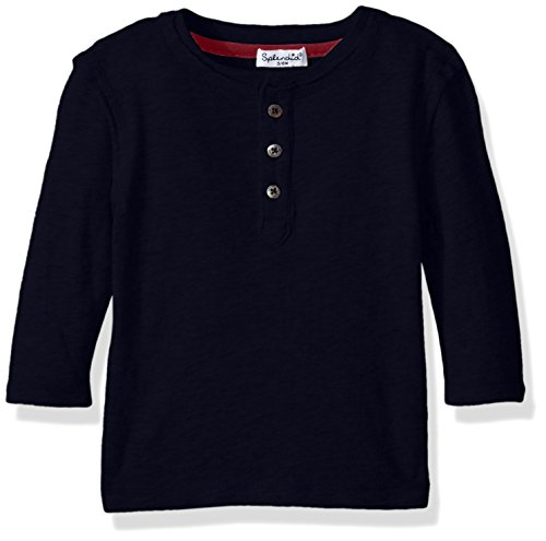 Splendid Baby Boys Basic Long Sleeve Henley, Navy, 18/24 (Splendid Jersey Henley)