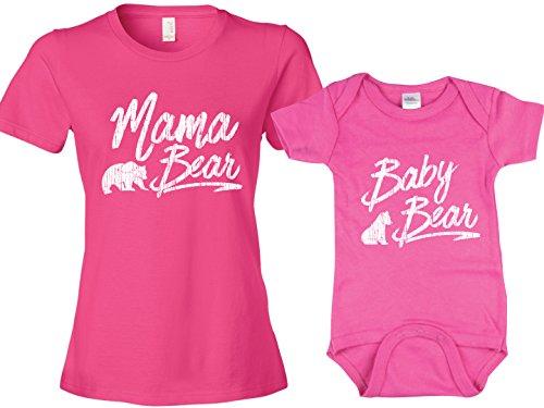 Girls Baby Bear T Shirt, Matching Mama Bear T Shirt, Pink Womans XL & Pink 6-12m ()