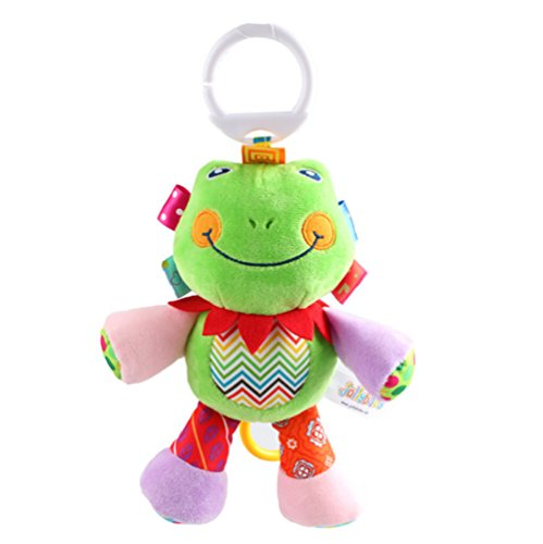Rolina Baby Musical Stroller Crib Toys Cute Animal Rattle Plush Doll for Infant Toddler Kids,Frog (Frog Plush Rattle)