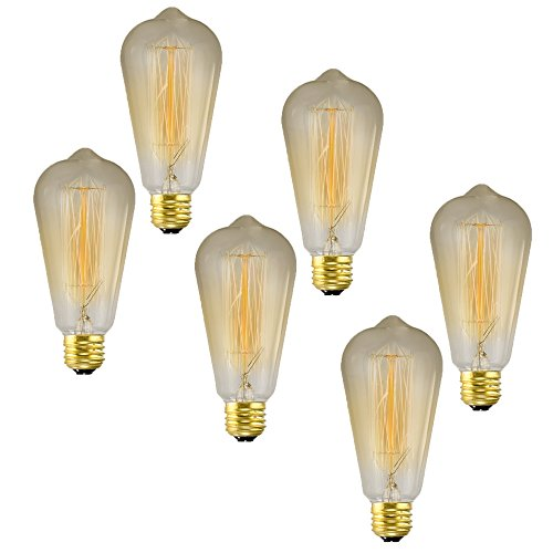 Vintage Incandescent Edison Style ST64 Light Bulbs 6 Pack - 40 Watt Edison Bulb, E26 Base, Dimmable Soft Warm 2500K Color, Squirrel Cage Filament