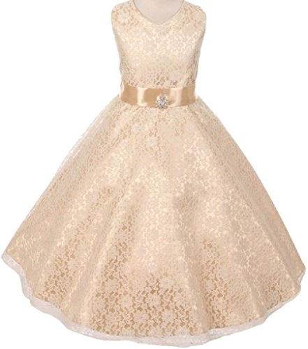 Big Girls' Lace Overlay Satin Brooch Flowers Girls Dresses Champagne Size 8