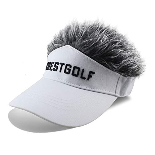 Mens Long Hair Wig (Novelty Fake Hair Hat Sun Visor Cap Wig Peaked Adjustable Baseball Hat with Spiked Hair (White with)