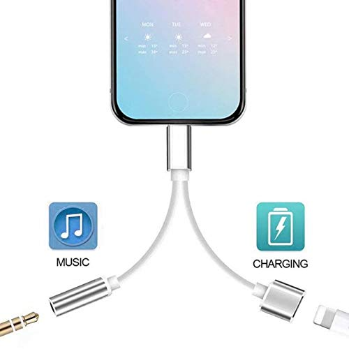 Headphone Adapter for iPhone X/XS/XS MAX/XR/8/ 8Plus/ 7/7 Plus Headset Adaptor Splitter Earphone Connector Convertor 2 in 1 Mini Accessories Cables Call Charge Music Wire Control iOS System.