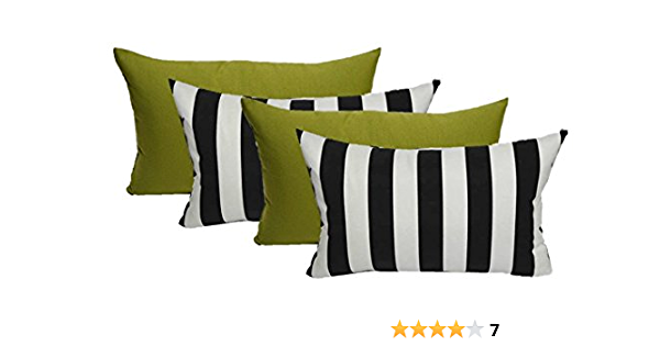 Neckroll and Rectangle Outdoor Decorative Bolster Set of 4 Indoor Lumbar Pillows Black and White Stripe