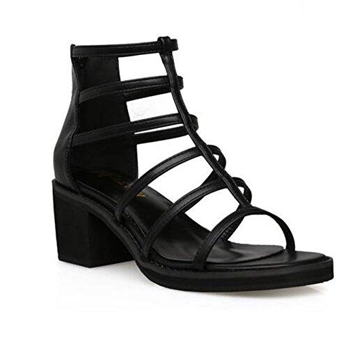 Damenschuhe Black Heels Open Sandalen Frau Dicke Sommer High Wild ZCJB Toe Roman nxn8F