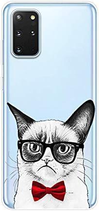 Herbests Kompatibel mit Samsung Galaxy S20 Plus Hülle Silikon Case Transparent Silikon Schutzhülle mit Tiere Muster Ultradünn Stoßfest Rückschale Tasche Crystal Clear Soft Case,Katze Glas