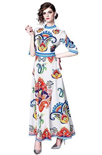 LAI MENG FIVE CATS Women's Elegant Paisley/Baroque Print Casual A-line Long Maxi Dress White