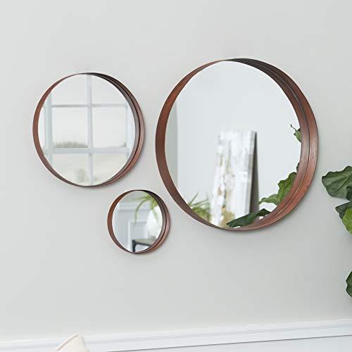Walker Edison Round Copper Wall Mirror Set Vanity Bathroom Bedroom Entryway, Set of 3, Copper