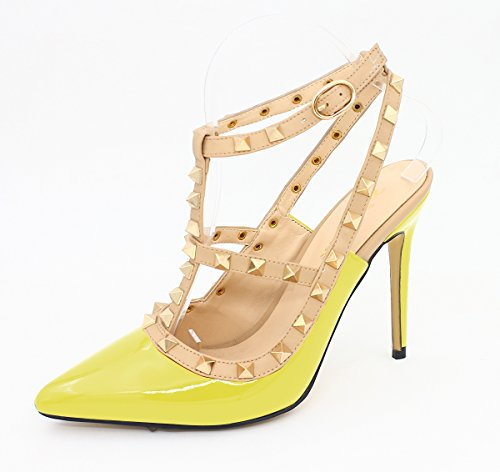 Toe Yellow Heels Ankle Strap SexyPrey Pointed Size Women's Gladiator High Studded Sandals Court Shoes Plus wppI6U1qH