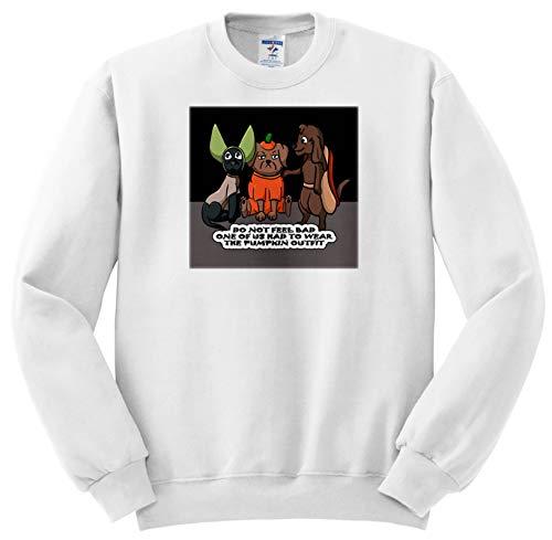Sandy Mertens Halloween Designs - Dog Costume Cartoon, Funny Quote with Pumpkin Outfit, 3drsmm - Sweatshirts - Adult Sweatshirt Medium (ss_290229_2) -