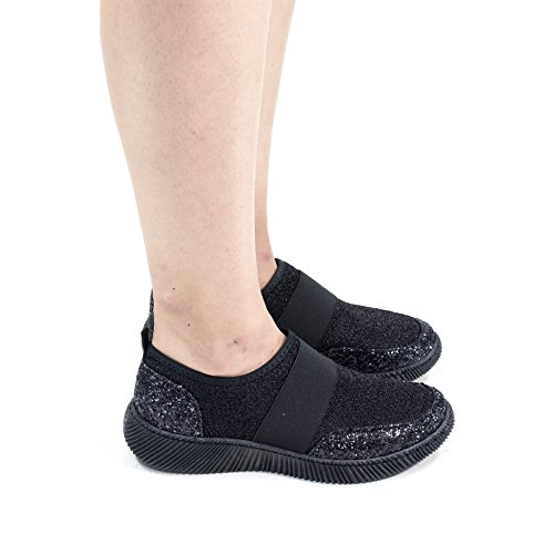 Slip On Glitter Fashion Sneaker, Elastico E Glitter Nero