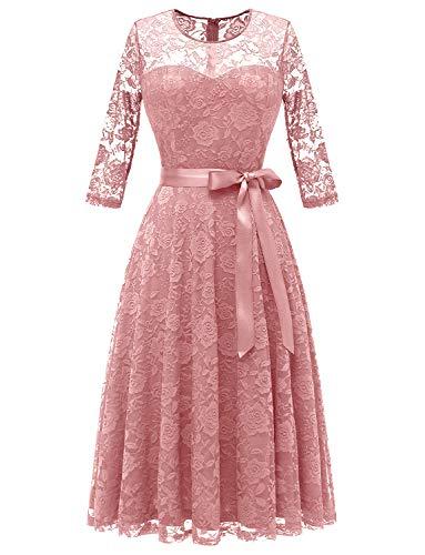 Dressystar 0017 Women's Elegant Floral Lace Dress 3/4 Sleeves Bridesmaid Midi Dresses Illusion Neckline Blush XXL