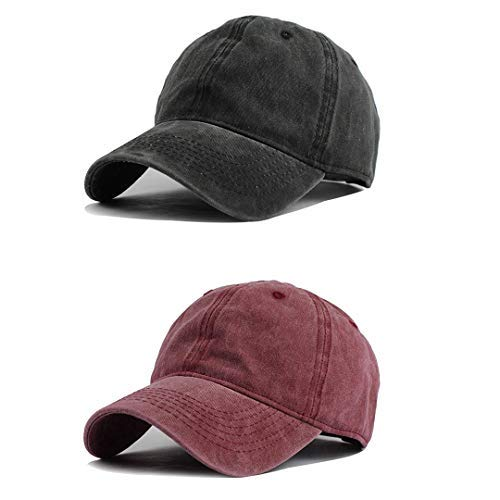 1 Fit New Hat Cap - Unisex Vintage Washed Distressed Baseball-Cap Twill Adjustable Dad-Hat (D6-2pc (Black+burgundy)(new))