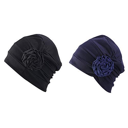 - DuoZan Chemo Turban Flower Beanie Cap Pleated Hair Loss Hat for Cancer (Black+Navy)