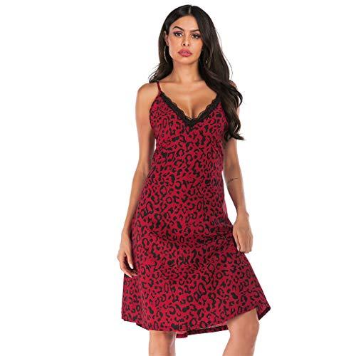 Flexman Women Lingerie Lace V Neck Spaghetti Strap Nightwear Cotton Sleepwear Chemise Harness Nightdress (Red, M)