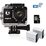 Anytek AT200 Sports Camera Full HD 1080P with Sony Sensor, 12MP 2 LCD Screen Waterproof Action Cam, WiFi App Control , 170° Ultra Wide-angle Lens, 2x1350mAh Batteries, 32GB Micro SD Card