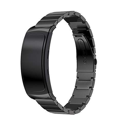 Cywulin Compatible Samsung Gear Fit2 / Fit2 Pro Watch Bands, Stainless Steel Metal Bracelet Strap Replacement Adjustable Wristband Adapter Connector Gear Fit 2 SM-R360 Fit 2 Pro SM-R365 (Black) ()