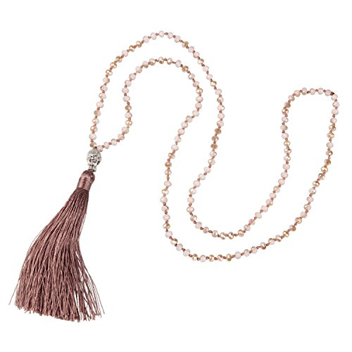 KELITCH Long Necklace for Women Hand Knotted Silver-Plated Beaded Buddha Tassel Pendant Necklace, Brown