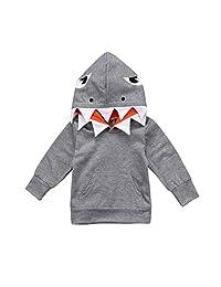 Matoen Toddler Baby Kids Boys Girls Long Sleeves Cartoon Shark Hoodie Tops