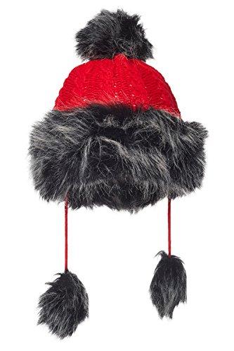 Fox Fur Trim Hat (Women Mongolian Hat With Faux Silver Fox Fur Pompom Cable Knit Fleece Lined Cap (Red))