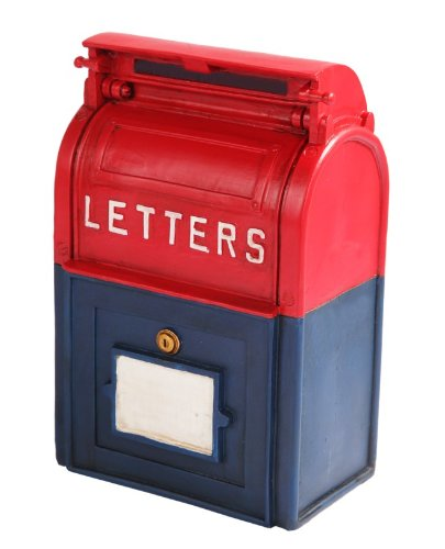 Ptc 6 25 Inch Resin Mailbox Savings Piggy Coin Money Bank  Red And Blue